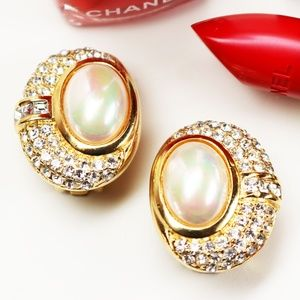 Christian Dior Pearl Cabochon & Crystal Earrings